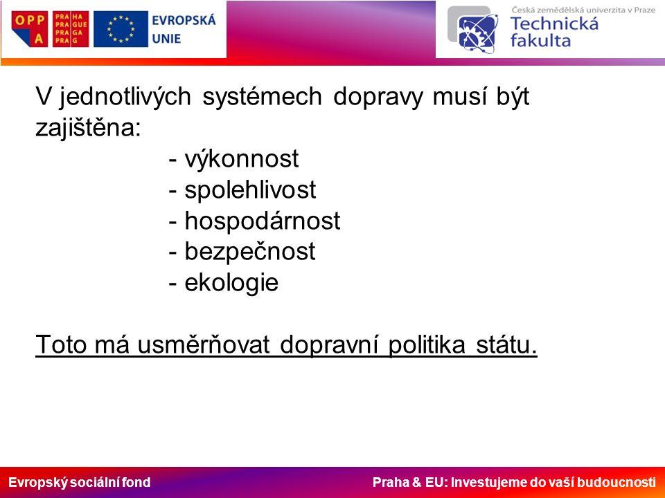 Evropský sociální fond Praha & EU: Investujeme do vaší budoucnosti V jednotlivých systémech dopravy musí být zajištěna: - výkonnost - spolehlivost - hospodárnost - bezpečnost - ekologie Toto má usměrňovat dopravní politika státu.