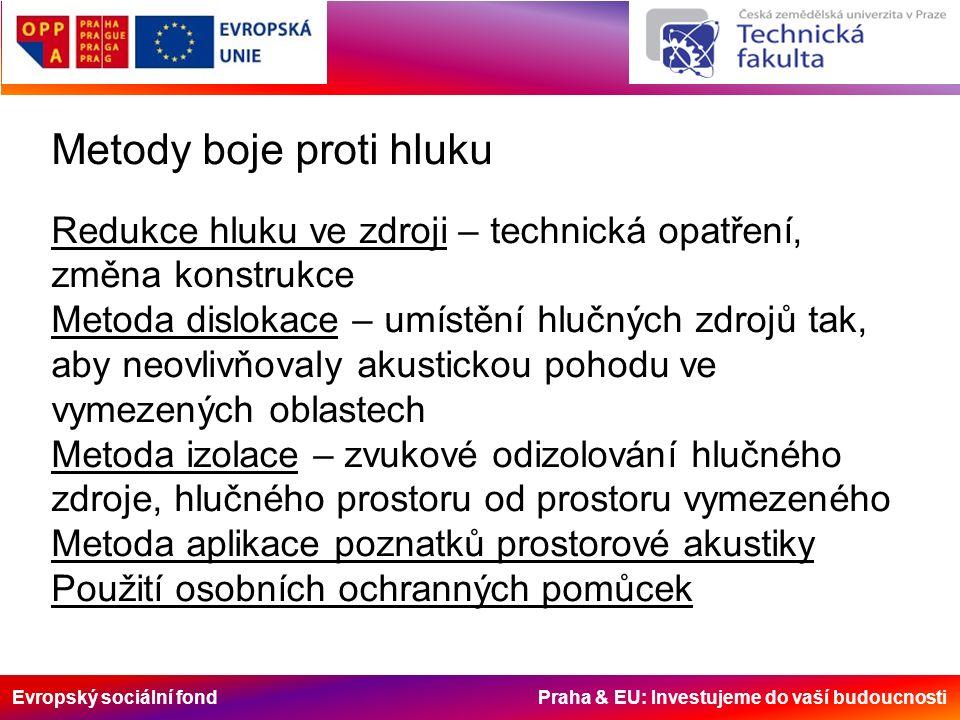 Evropský sociální fond Praha & EU: Investujeme do vaší budoucnosti Metody boje proti hluku Redukce hluku ve zdroji – technická opatření, změna konstrukce Metoda dislokace – umístění hlučných zdrojů tak, aby neovlivňovaly akustickou pohodu ve vymezených oblastech Metoda izolace – zvukové odizolování hlučného zdroje, hlučného prostoru od prostoru vymezeného Metoda aplikace poznatků prostorové akustiky Použití osobních ochranných pomůcek