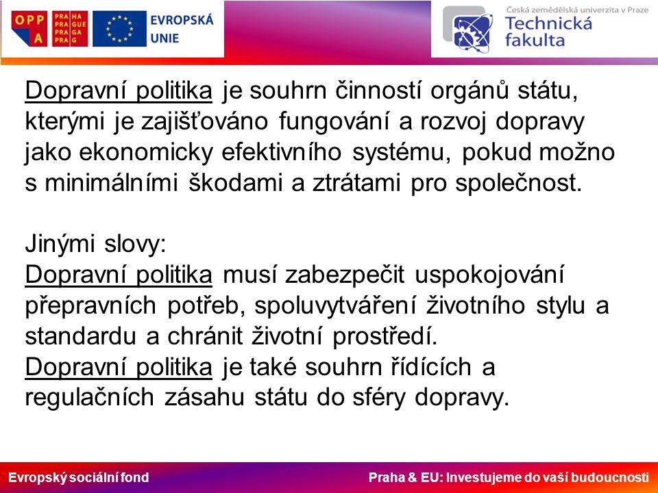 Evropský sociální fond Praha & EU: Investujeme do vaší budoucnosti Dopravní politika je souhrn činností orgánů státu, kterými je zajišťováno fungování a rozvoj dopravy jako ekonomicky efektivního systému, pokud možno s minimálními škodami a ztrátami pro společnost.