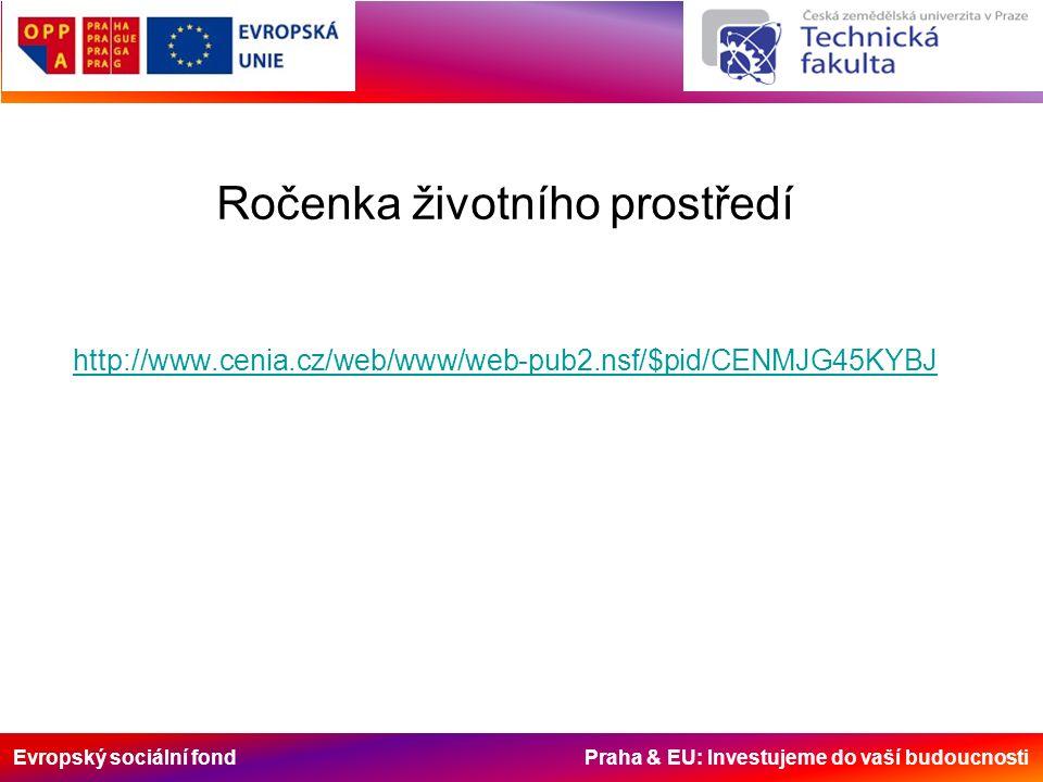 Evropský sociální fond Praha & EU: Investujeme do vaší budoucnosti Ročenka životního prostředí http://www.cenia.cz/web/www/web-pub2.nsf/$pid/CENMJG45KYBJ http://www.cenia.cz/web/www/web-pub2.nsf/$pid/CENMJG45KYBJ