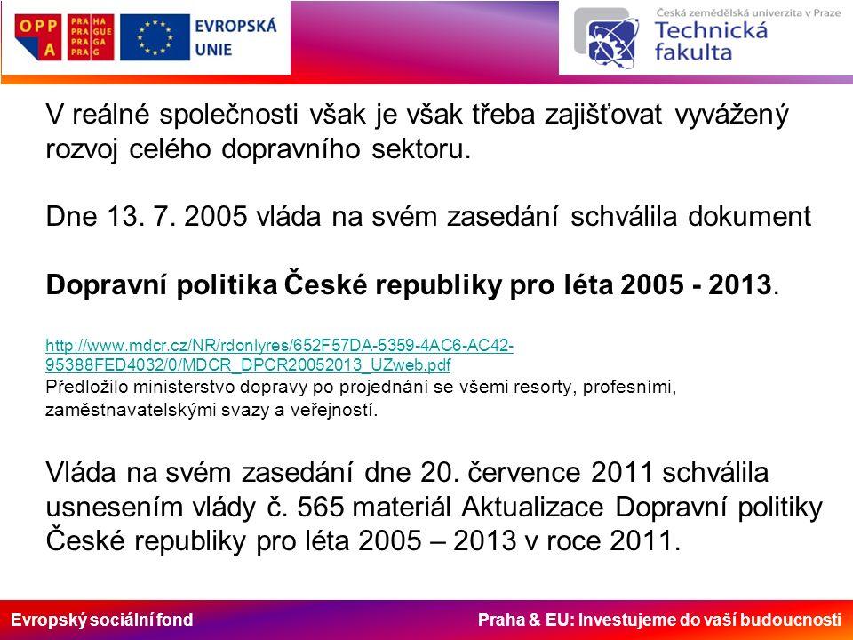 Evropský sociální fond Praha & EU: Investujeme do vaší budoucnosti V reálné společnosti však je však třeba zajišťovat vyvážený rozvoj celého dopravního sektoru.