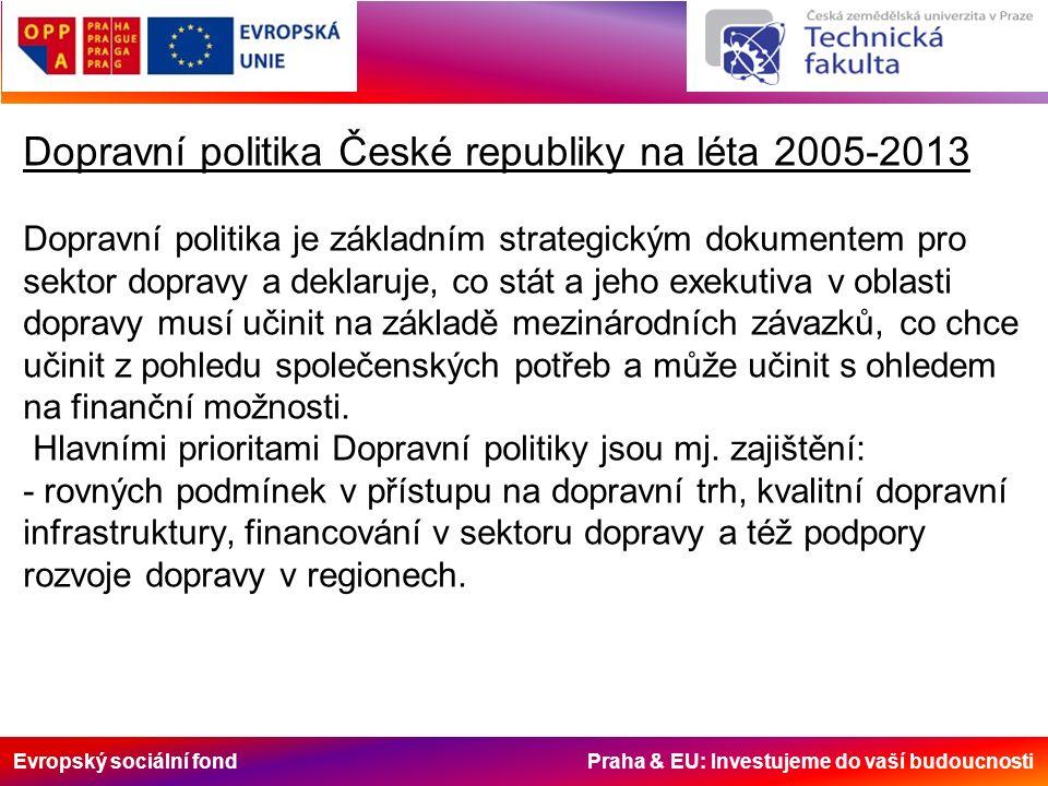 Evropský sociální fond Praha & EU: Investujeme do vaší budoucnosti Dopravní politika České republiky na léta 2005-2013 Dopravní politika je základním strategickým dokumentem pro sektor dopravy a deklaruje, co stát a jeho exekutiva v oblasti dopravy musí učinit na základě mezinárodních závazků, co chce učinit z pohledu společenských potřeb a může učinit s ohledem na finanční možnosti.
