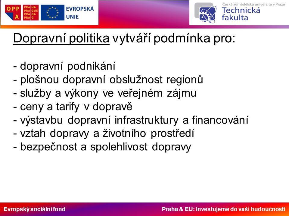 Evropský sociální fond Praha & EU: Investujeme do vaší budoucnosti Dopravní politika vytváří podmínka pro: - dopravní podnikání - plošnou dopravní obslužnost regionů - služby a výkony ve veřejném zájmu - ceny a tarify v dopravě - výstavbu dopravní infrastruktury a financování - vztah dopravy a životního prostředí - bezpečnost a spolehlivost dopravy