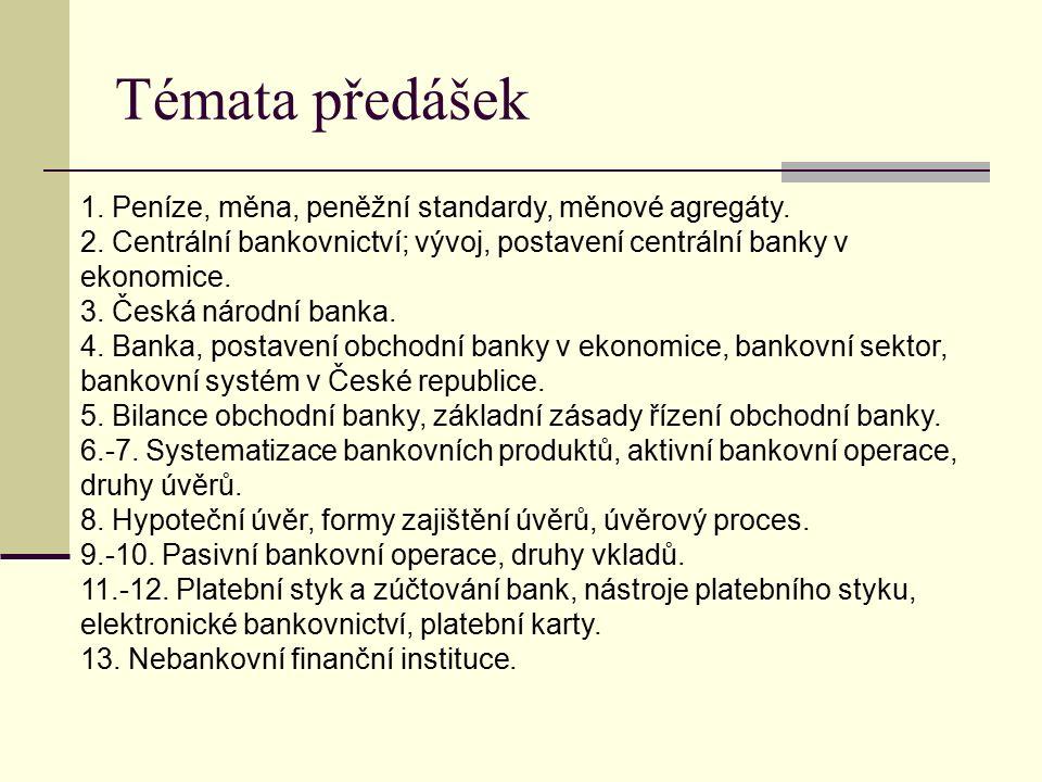 Témata předášek 1. Peníze, měna, peněžní standardy, měnové agregáty.
