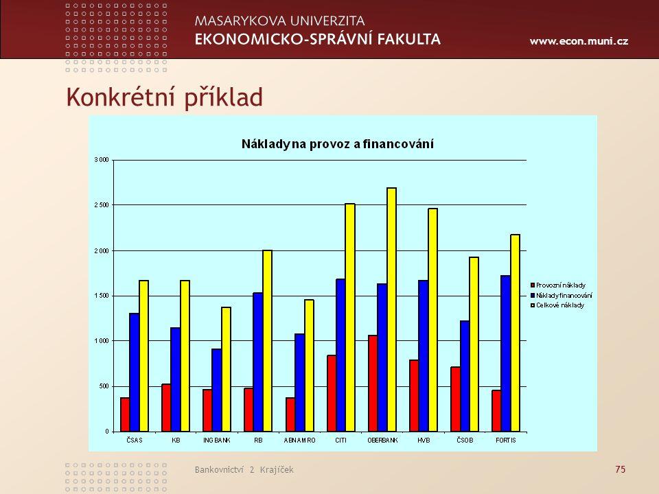 www.econ.muni.cz Bankovnictví 2 Krajíček75 Konkrétní příklad