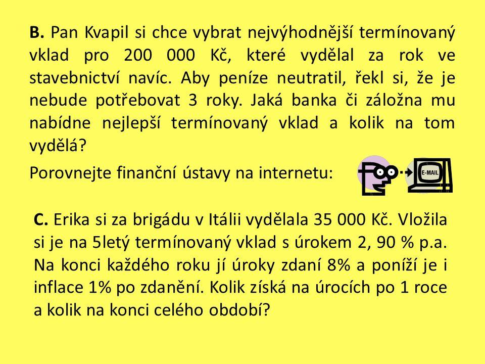 B. Pan Kvapil si chce vybrat nejvýhodnější termínovaný vklad pro 200 000 Kč, které vydělal za rok ve stavebnictví navíc. Aby peníze neutratil, řekl si