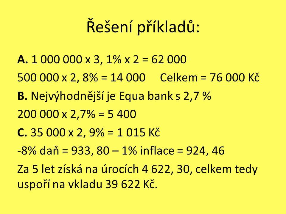 Řešení příkladů: A. 1 000 000 x 3, 1% x 2 = 62 000 500 000 x 2, 8% = 14 000 Celkem = 76 000 Kč B.