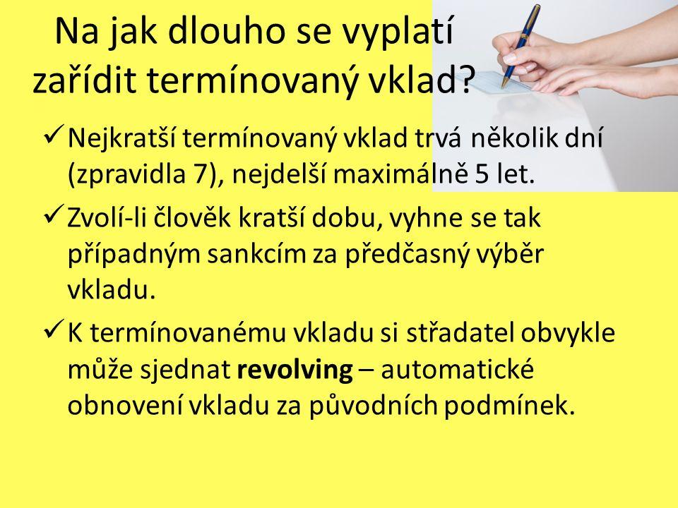 Úročení termínovaného vkladu Úroková sazba / míra je předem stanovena při podpisu smlouvy.
