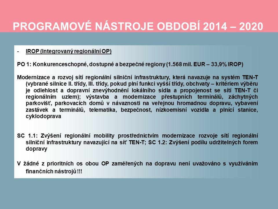 PROGRAMOVÉ NÁSTROJE OBDOBÍ 2014 – 2020 -IROP (Integrovaný regionální OP) PO 1: Konkurenceschopné, dostupné a bezpečné regiony (1.568 mil.