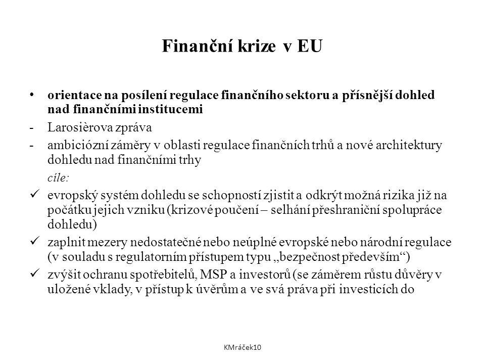 """Finanční krize v EU orientace na posílení regulace finančního sektoru a přísnější dohled nad finančními institucemi -Larosièrova zpráva -ambiciózní záměry v oblasti regulace finančních trhů a nové architektury dohledu nad finančními trhy cíle: evropský systém dohledu se schopností zjistit a odkrýt možná rizika již na počátku jejich vzniku (krizové poučení – selhání přeshraniční spolupráce dohledu) zaplnit mezery nedostatečné nebo neúplné evropské nebo národní regulace (v souladu s regulatorním přístupem typu """"bezpečnost především ) zvýšit ochranu spotřebitelů, MSP a investorů (se záměrem růstu důvěry v uložené vklady, v přístup k úvěrům a ve svá práva při investicích do KMráček10"""