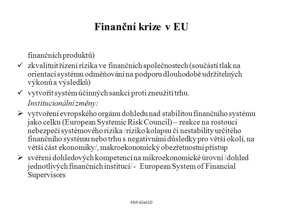Finanční krize v EU finančních produktů) zkvalitnit řízení rizika ve finančních společnostech (součástí tlak na orientaci systému odměňování na podporu dlouhodobě udržitelných výkonů a výsledků) vytvořit systém účinných sankcí proti zneužití trhu.