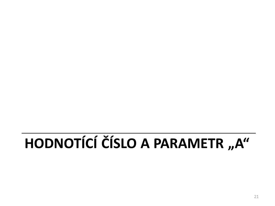 "HODNOTÍCÍ ČÍSLO A PARAMETR ""A 21"