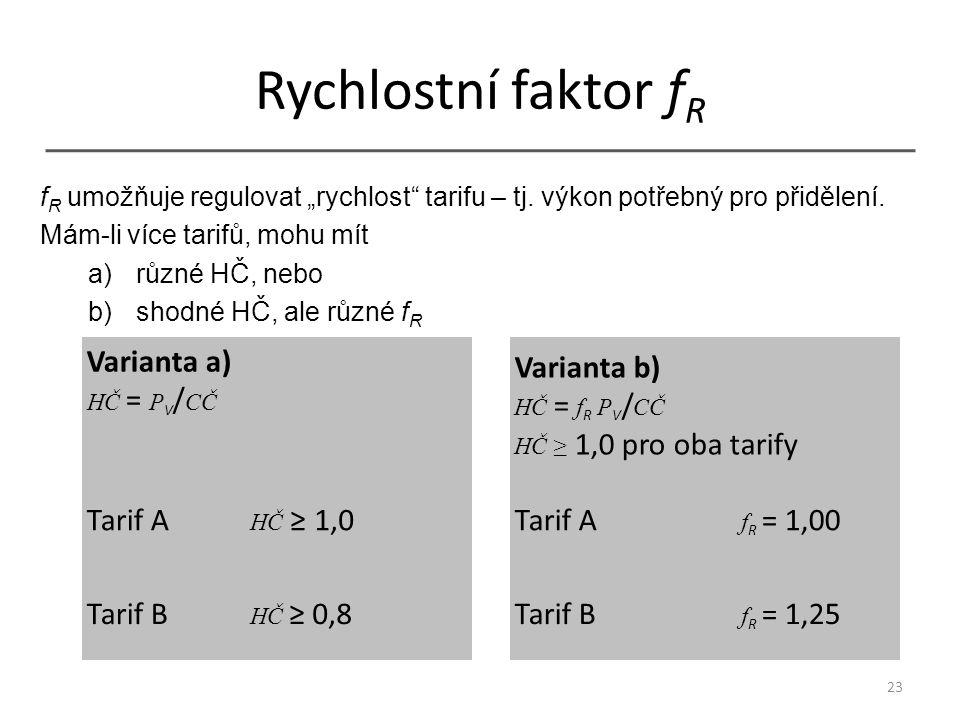 """Rychlostní faktor f R Varianta a) HČ = P V / CČ Varianta b) HČ = f R P V / CČ HČ ≥ 1,0 pro oba tarify Tarif A HČ ≥ 1,0Tarif A f R = 1,00 Tarif B HČ ≥ 0,8Tarif B f R = 1,25 23 f R umožňuje regulovat """"rychlost tarifu – tj."""