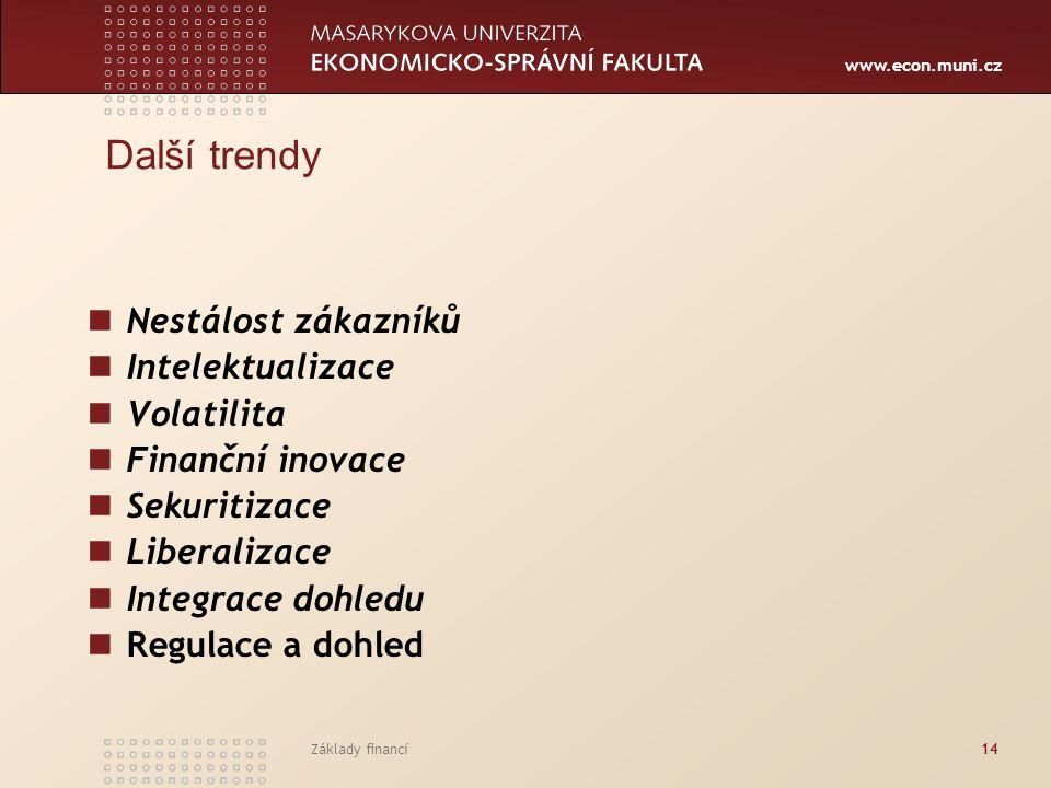 www.econ.muni.cz Základy financí14 Další trendy Nestálost zákazníků Intelektualizace Volatilita Finanční inovace Sekuritizace Liberalizace Integrace d