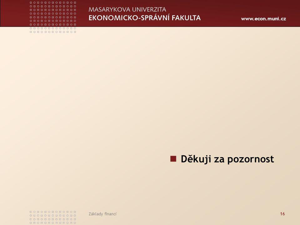 www.econ.muni.cz Základy financí16 Děkuji za pozornost