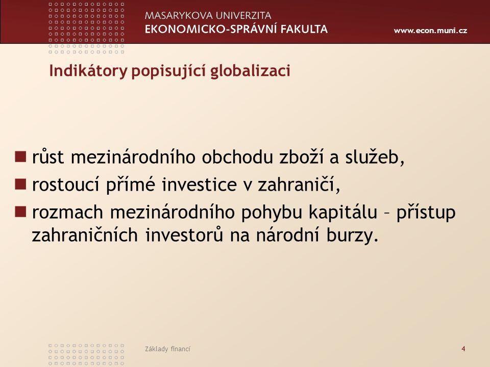 www.econ.muni.cz Základy financí4 Indikátory popisující globalizaci růst mezinárodního obchodu zboží a služeb, rostoucí přímé investice v zahraničí, r
