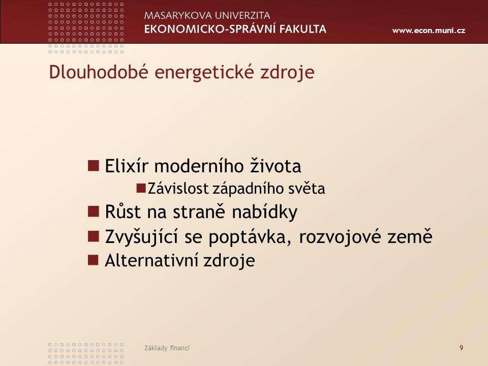 www.econ.muni.cz Základy financí9 Dlouhodobé energetické zdroje Elixír moderního života Závislost západního světa Růst na straně nabídky Zvyšující se