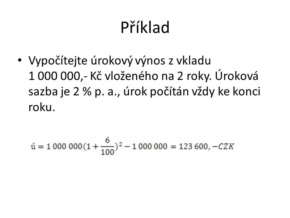 Příklad Vypočítejte úrokový výnos z vkladu 1 000 000,- Kč vloženého na 2 roky.