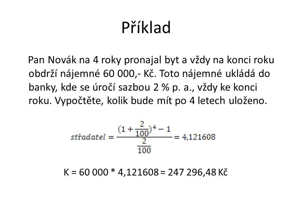 Příklad Pan Novák na 4 roky pronajal byt a vždy na konci roku obdrží nájemné 60 000,- Kč.