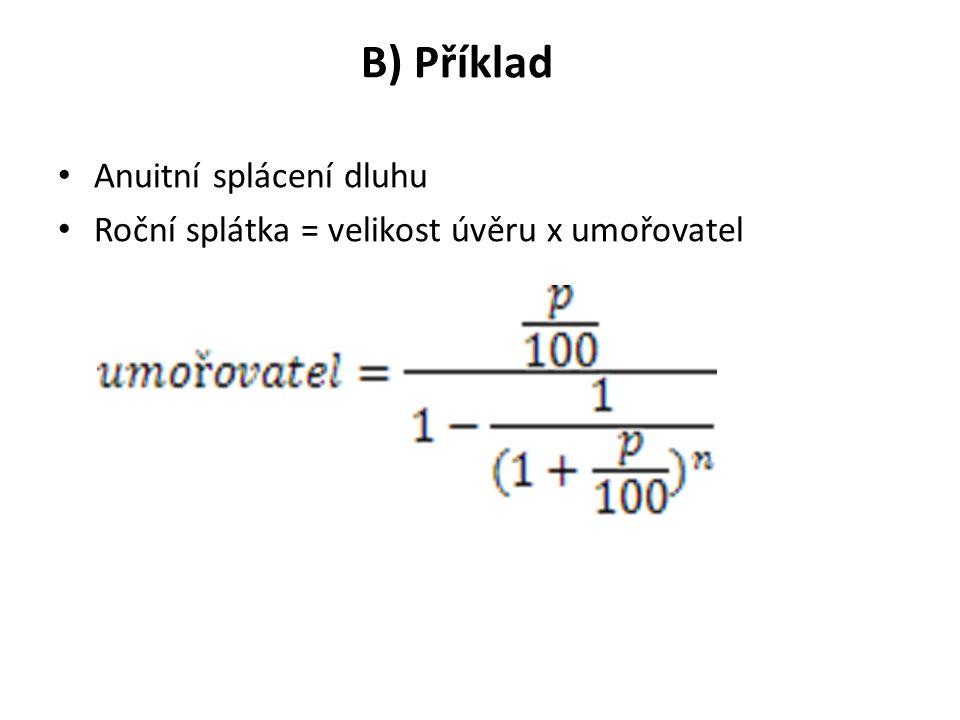 B) Příklad Anuitní splácení dluhu Roční splátka = velikost úvěru x umořovatel