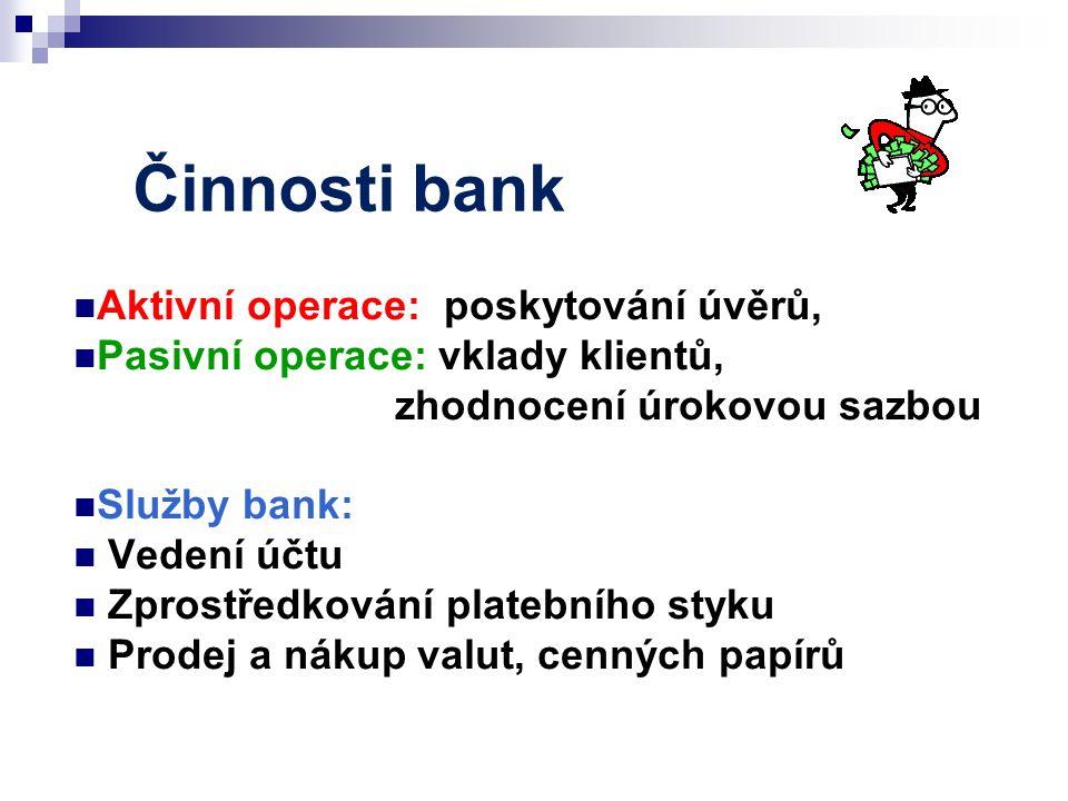 Činnosti bank Aktivní operace: poskytování úvěrů, Pasivní operace: vklady klientů, zhodnocení úrokovou sazbou Služby bank: Vedení účtu Zprostředkování platebního styku Prodej a nákup valut, cenných papírů