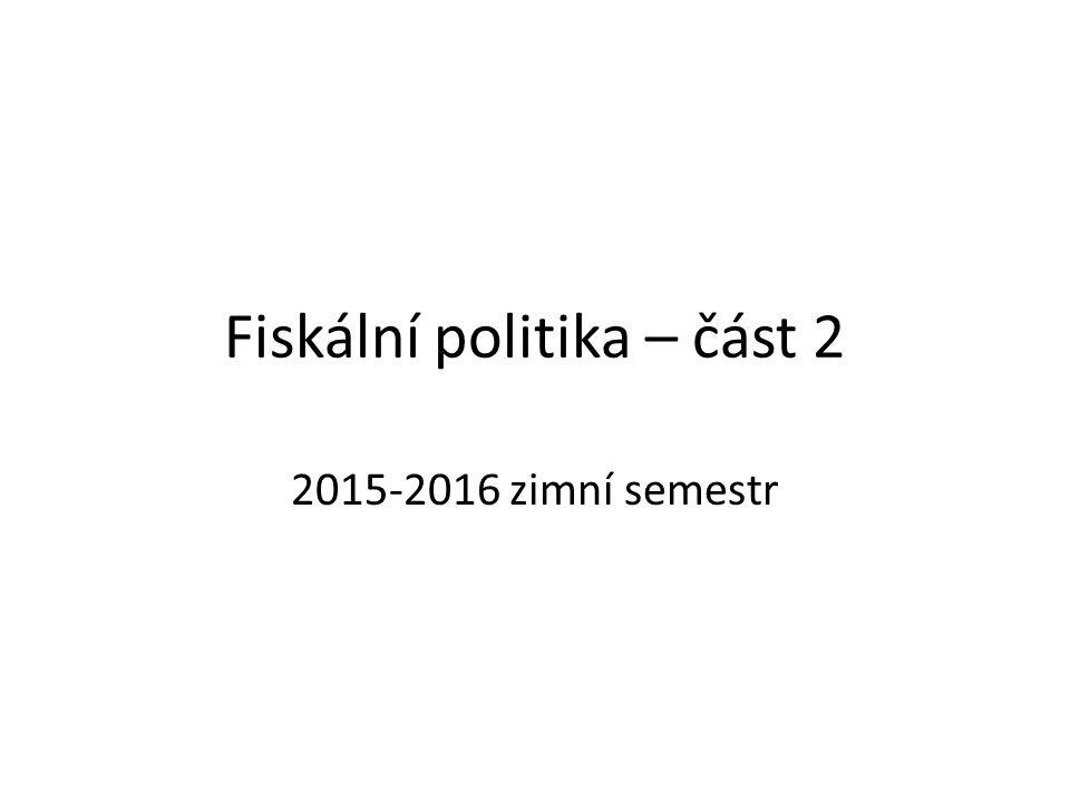 Fiskální politika – část 2 2015-2016 zimní semestr
