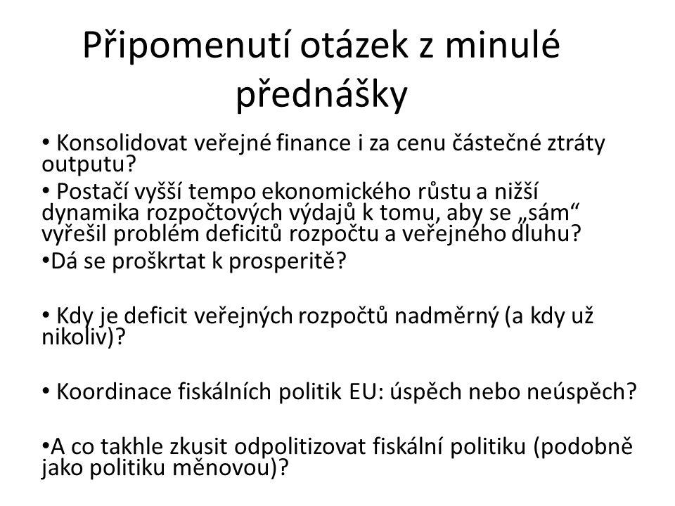 Připomenutí otázek z minulé přednášky Konsolidovat veřejné finance i za cenu částečné ztráty outputu.