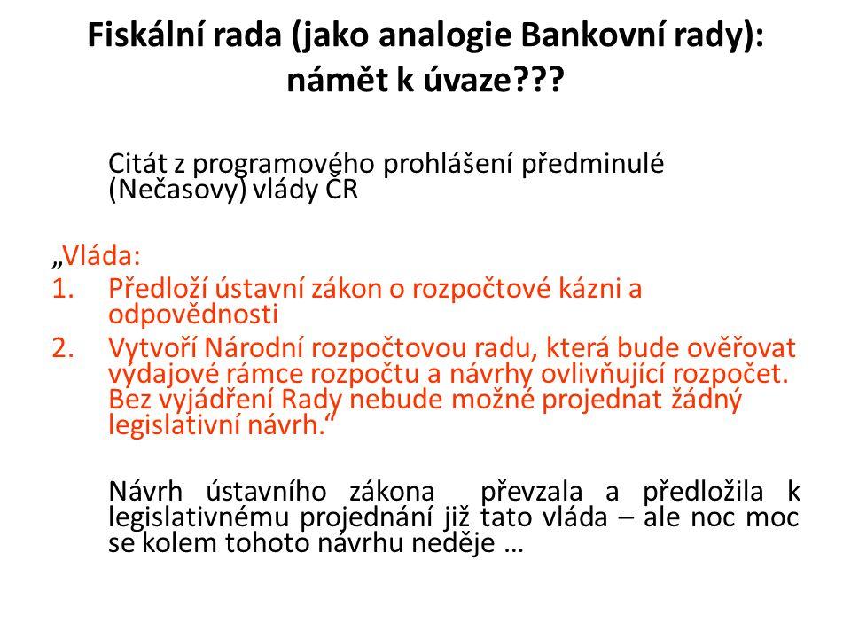 Fiskální rada (jako analogie Bankovní rady): námět k úvaze .