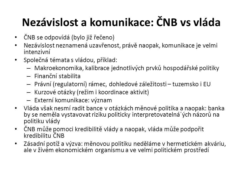 Nezávislost a komunikace: ČNB vs vláda ČNB se odpovídá (bylo již řečeno) Nezávislost neznamená uzavřenost, právě naopak, komunikace je velmi intenzivní Společná témata s vládou, příklad: – Makroekonomika, kalibrace jednotlivých prvků hospodářské politiky – Finanční stabilita – Právní (regulatorní) rámec, dohledové záležitosti – tuzemsko i EU – Kurzové otázky (režim i koordinace aktivit) – Externí komunikace: význam Vláda však nesmí radit bance v otázkách měnové politika a naopak: banka by se neměla vystavovat riziku politicky interpretovatelná´ých názorů na politiku vlády ČNB může pomoci kredibilitě vlády a naopak, vláda může podpořit kredibilitu ČNB Zásadní potíž a výzva: měnovou politiku neděláme v hermetickém akváriu, ale v živém ekonomickém organismu a ve velmi politickém prostředí