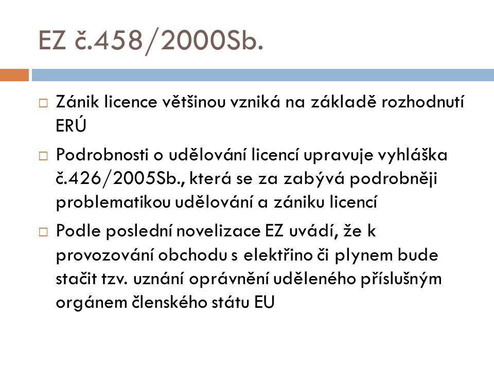 EZ č.458/2000Sb.  Zánik licence většinou vzniká na základě rozhodnutí ERÚ  Podrobnosti o udělování licencí upravuje vyhláška č.426/2005Sb., která se