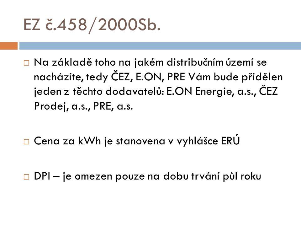 EZ č.458/2000Sb.  Na základě toho na jakém distribučním území se nacházíte, tedy ČEZ, E.ON, PRE Vám bude přidělen jeden z těchto dodavatelů: E.ON Ene