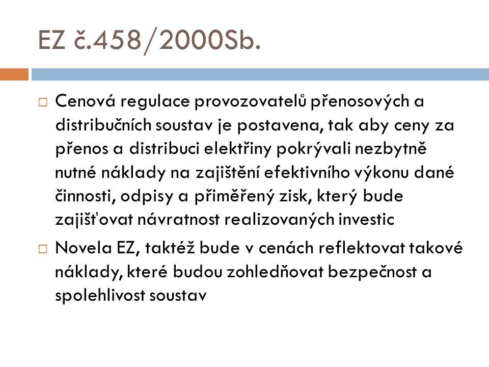 EZ č.458/2000Sb.  Cenová regulace provozovatelů přenosových a distribučních soustav je postavena, tak aby ceny za přenos a distribuci elektřiny pokrý