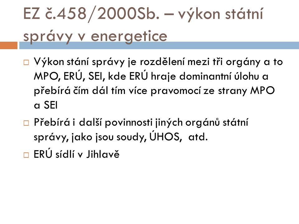EZ č.458/2000Sb. – výkon státní správy v energetice  Výkon stání správy je rozdělení mezi tři orgány a to MPO, ERÚ, SEI, kde ERÚ hraje dominantní úlo