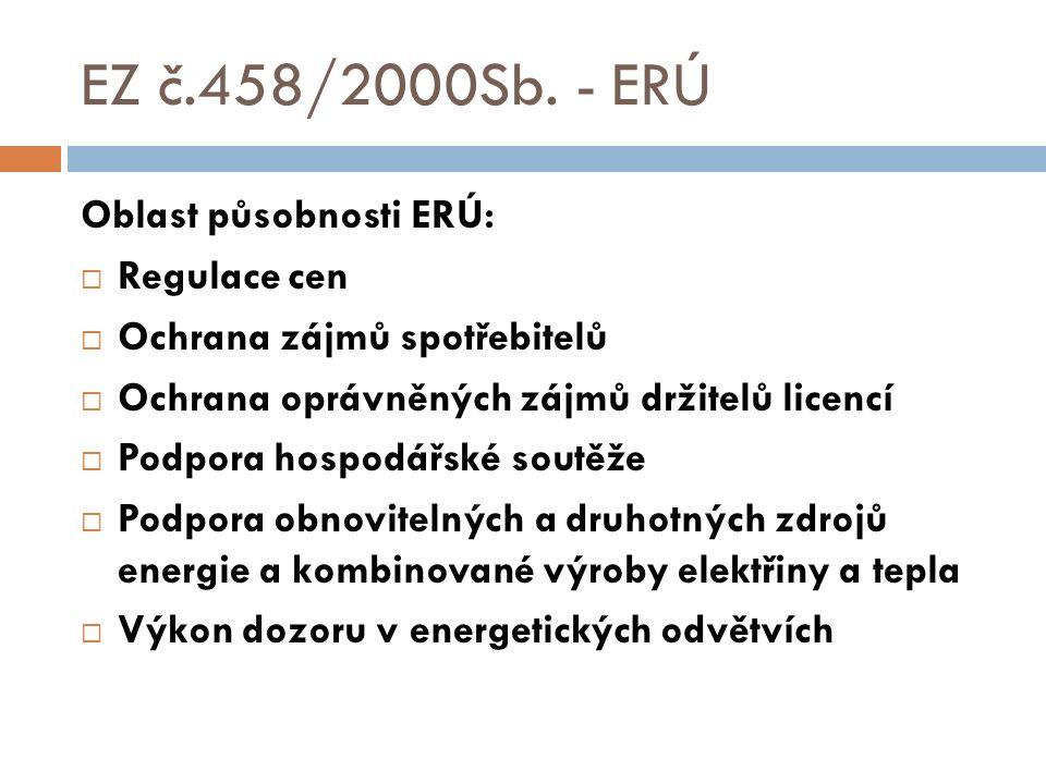 EZ č.458/2000Sb. - ERÚ Oblast působnosti ERÚ:  Regulace cen  Ochrana zájmů spotřebitelů  Ochrana oprávněných zájmů držitelů licencí  Podpora hospo