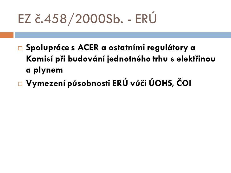 EZ č.458/2000Sb. - ERÚ  Spolupráce s ACER a ostatními regulátory a Komisí při budování jednotného trhu s elektřinou a plynem  Vymezení působnosti ER