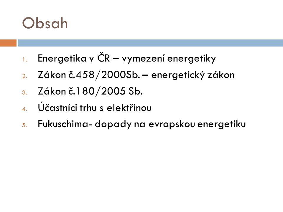 Obsah 1. Energetika v ČR – vymezení energetiky 2. Zákon č.458/2000Sb. – energetický zákon 3. Zákon č.180/2005 Sb. 4. Účastníci trhu s elektřinou 5. Fu
