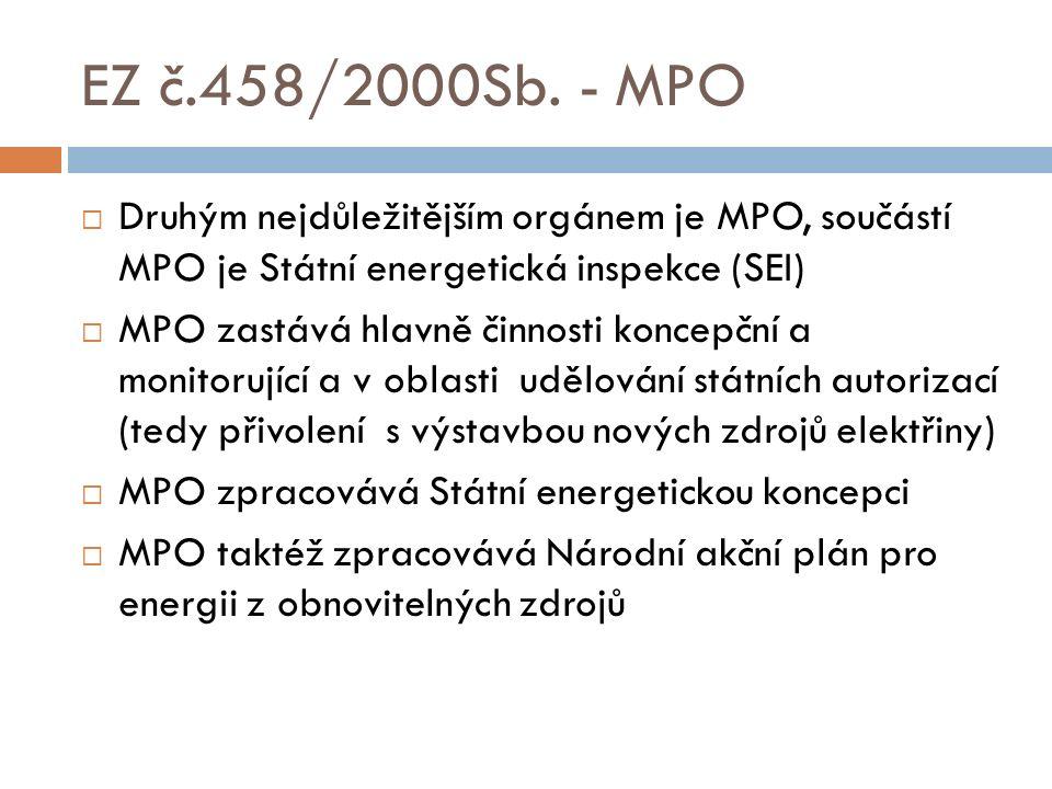 EZ č.458/2000Sb. - MPO  Druhým nejdůležitějším orgánem je MPO, součástí MPO je Státní energetická inspekce (SEI)  MPO zastává hlavně činnosti koncep