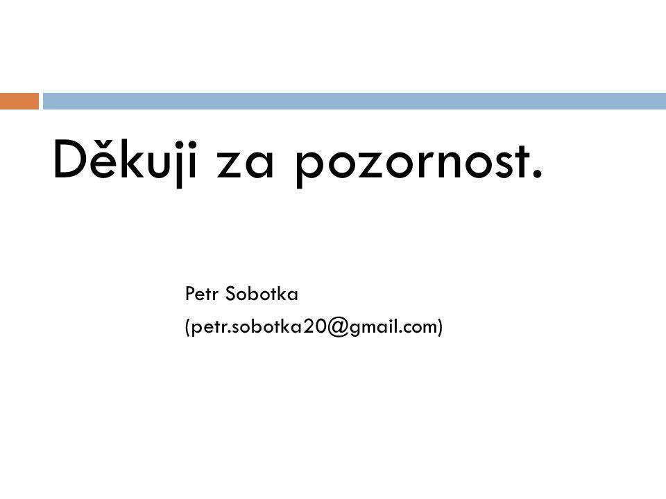 Děkuji za pozornost. Petr Sobotka (petr.sobotka20@gmail.com)