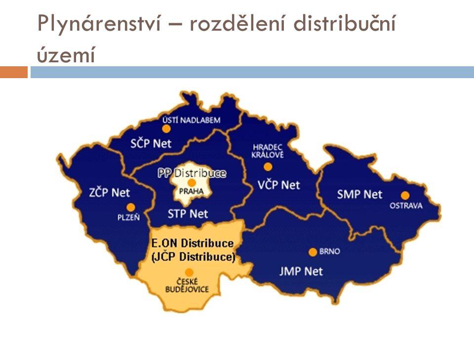 Plynárenství – rozdělení distribuční území