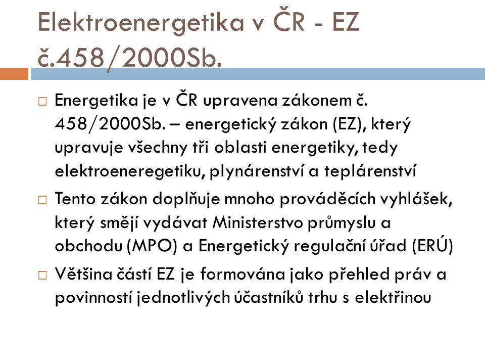 Elektroenergetika v ČR - EZ č.458/2000Sb.  Energetika je v ČR upravena zákonem č. 458/2000Sb. – energetický zákon (EZ), který upravuje všechny tři ob