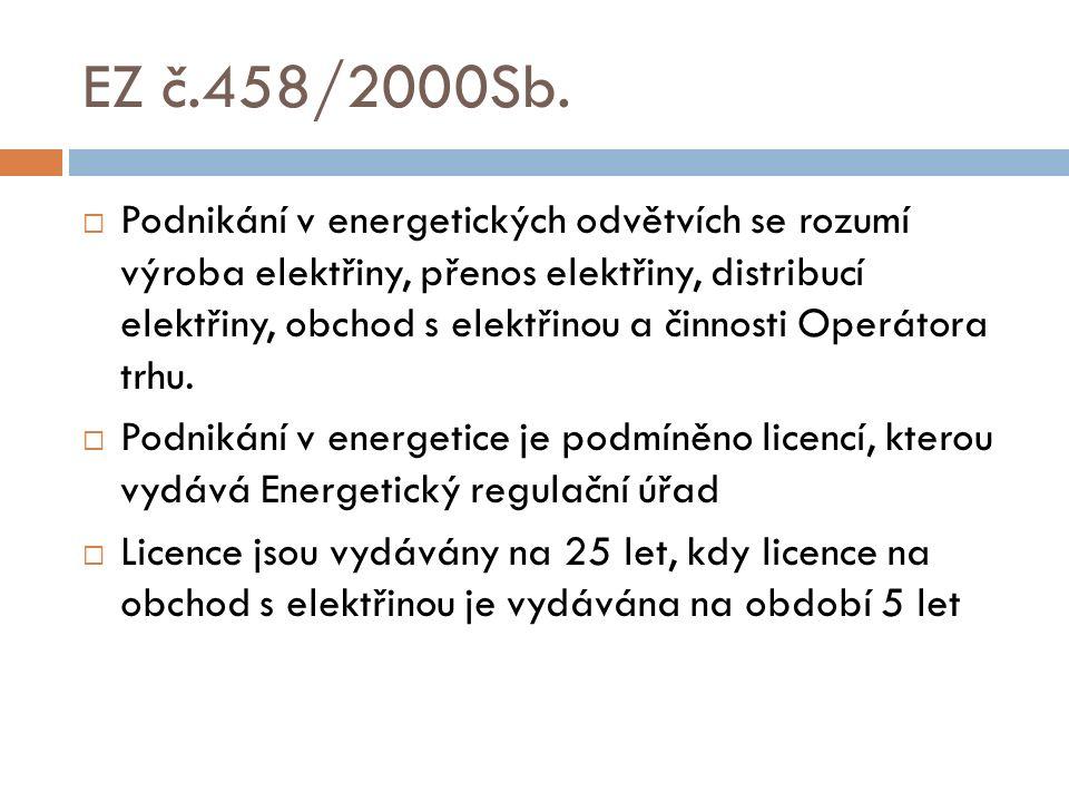 EZ č.458/2000Sb.  Podnikání v energetických odvětvích se rozumí výroba elektřiny, přenos elektřiny, distribucí elektřiny, obchod s elektřinou a činno