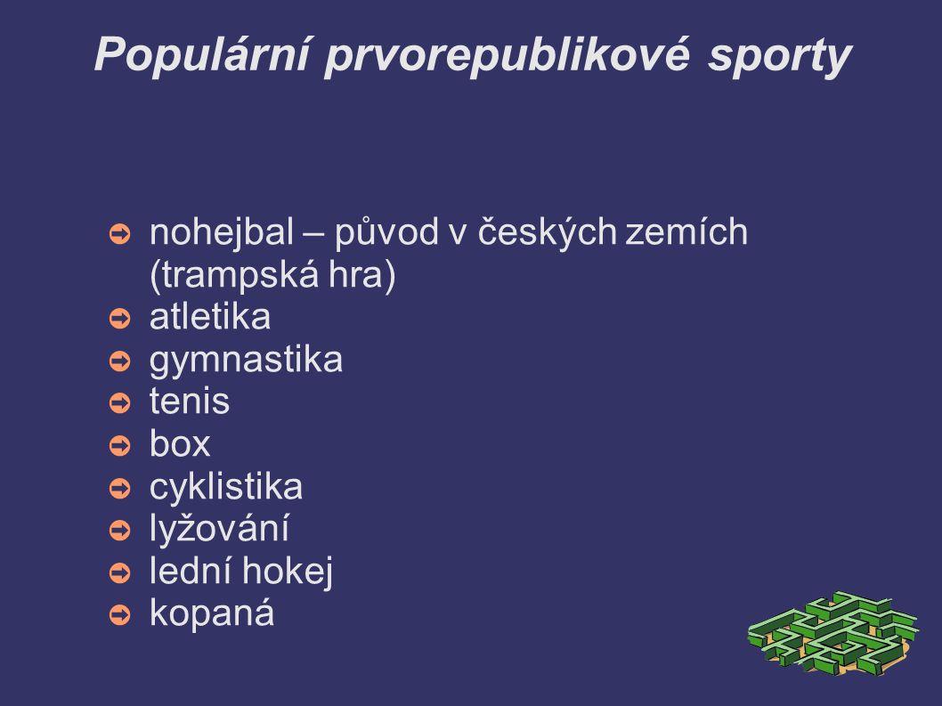 Populární prvorepublikové sporty ➲ nohejbal – původ v českých zemích (trampská hra) ➲ atletika ➲ gymnastika ➲ tenis ➲ box ➲ cyklistika ➲ lyžování ➲ le