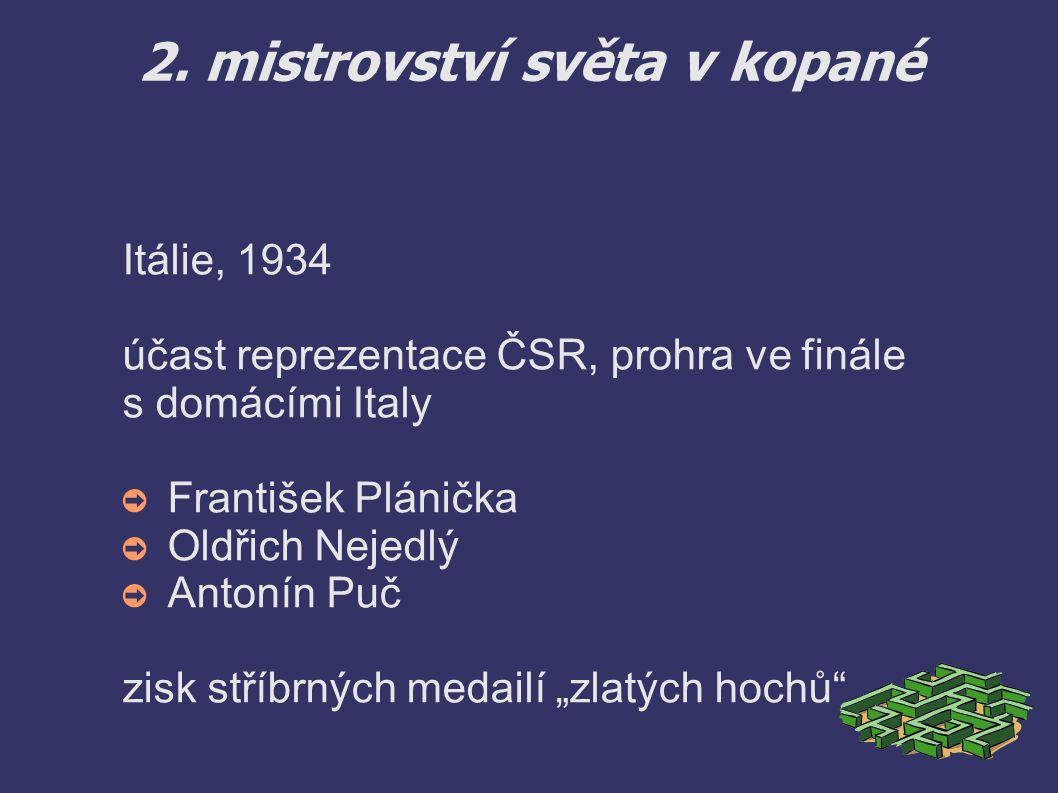 2. mistrovství světa v kopané Itálie, 1934 účast reprezentace ČSR, prohra ve finále s domácími Italy ➲ František Plánička ➲ Oldřich Nejedlý ➲ Antonín