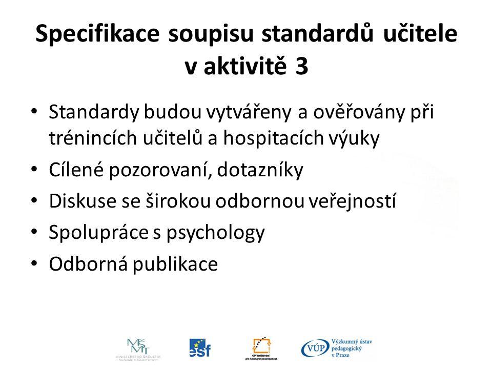 Specifikace soupisu standardů učitele v aktivitě 3 Standardy budou vytvářeny a ověřovány při trénincích učitelů a hospitacích výuky Cílené pozorovaní, dotazníky Diskuse se širokou odbornou veřejností Spolupráce s psychology Odborná publikace