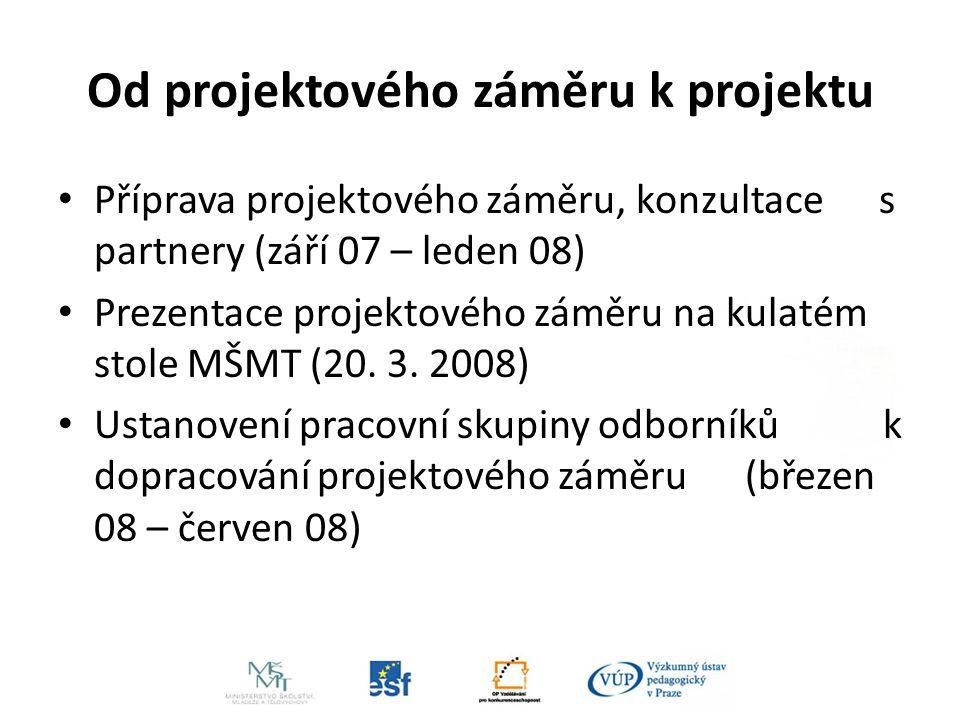 Od projektového záměru k projektu Příprava projektového záměru, konzultace s partnery (září 07 – leden 08) Prezentace projektového záměru na kulatém stole MŠMT (20.