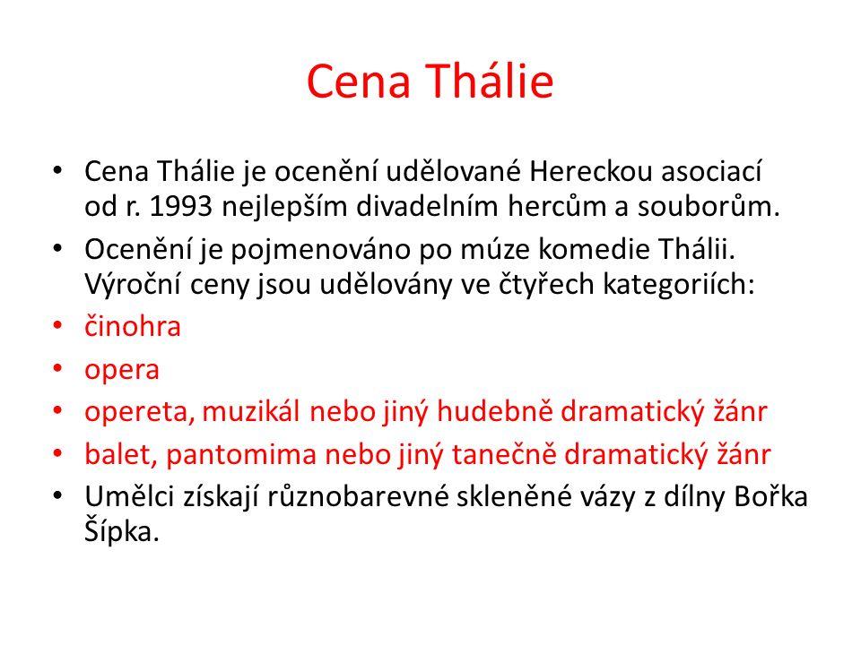 Cena Thálie Cena Thálie je ocenění udělované Hereckou asociací od r. 1993 nejlepším divadelním hercům a souborům. Ocenění je pojmenováno po múze komed