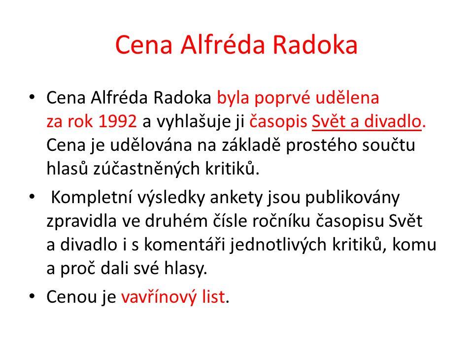Cena Alfréda Radoka (2) Cena je udělována v kategoriích inscenace roku, ženský a mužský herecký výkon, talent roku, hra a nejlepší scénografie, scénická hudba, nejlepší divadlo.