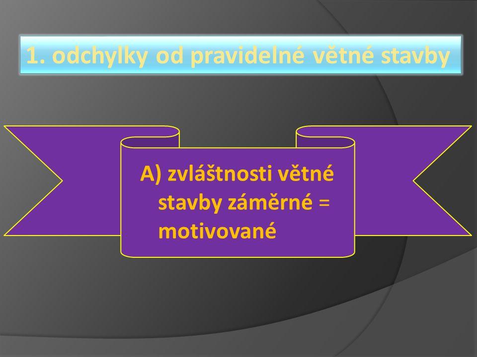 1. odchylky od pravidelné větné stavby A) zvláštnosti větné stavby záměrné = motivované