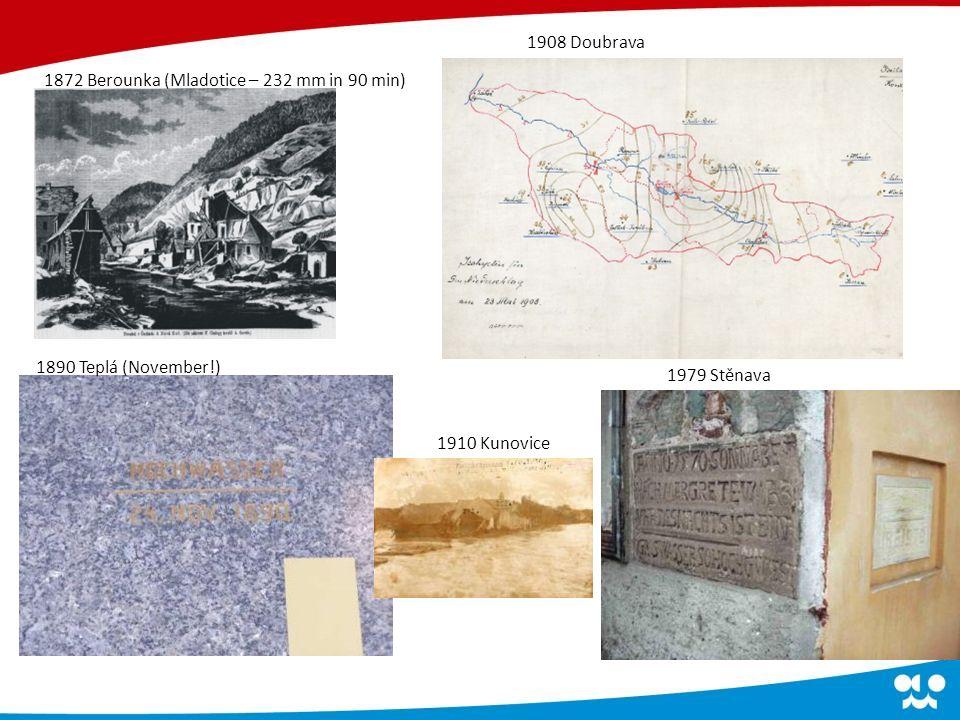 1872 Berounka (Mladotice – 232 mm in 90 min) 1908 Doubrava 1890 Teplá (November!) 1910 Kunovice 1979 Stěnava