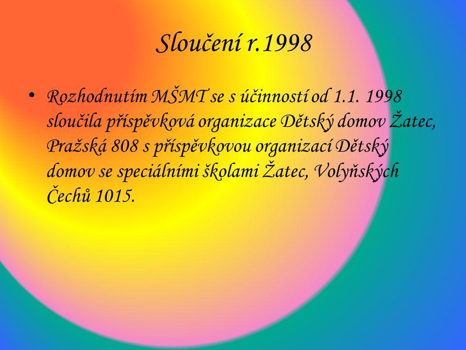 Sloučení r.1998 Rozhodnutím MŠMT se s účinností od 1.1.